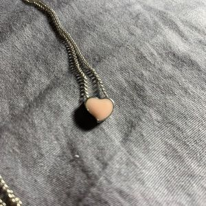 Silver baby pink heart necklace 3/13$